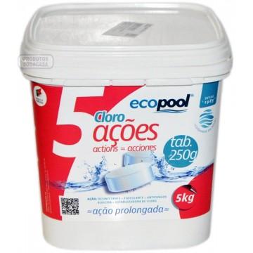 Ecopool cloro 5 ações balde...